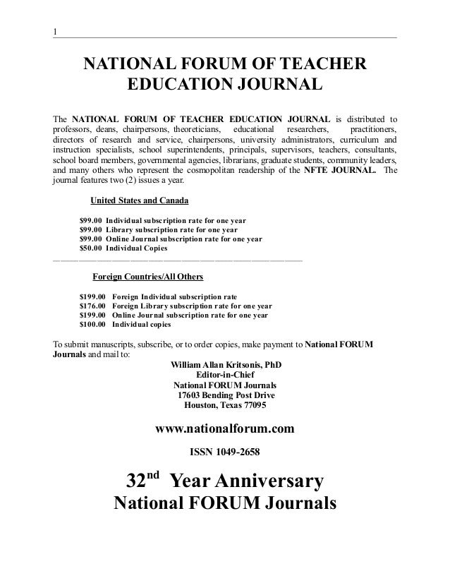 National FORUM of Teacher Education Journal,  Dr. William Allan Kritsonis, Editor, www.nationalforum.com,  NATIONAL FORUM JOURNALS, Founded 1982