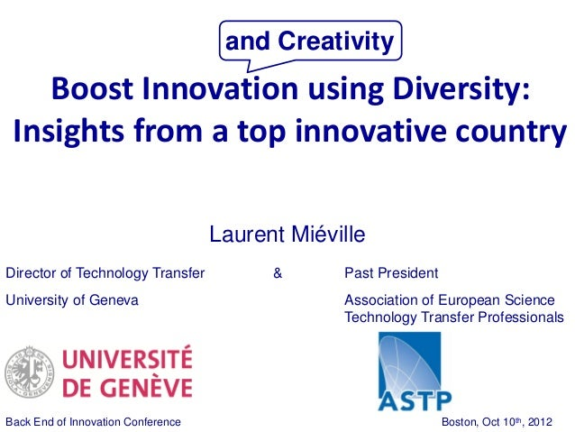 and Creativity    Boost Innovation using Diversity: Insights from a top innovative country                                ...