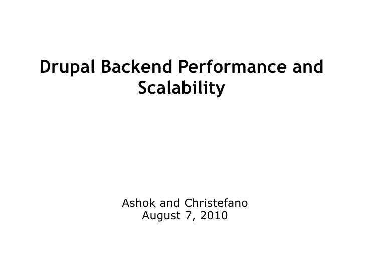 Drupal Backend Performance and Scalability