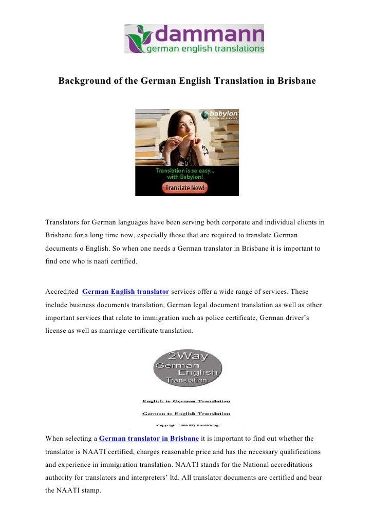 Background of the German English Translation in Brisbane