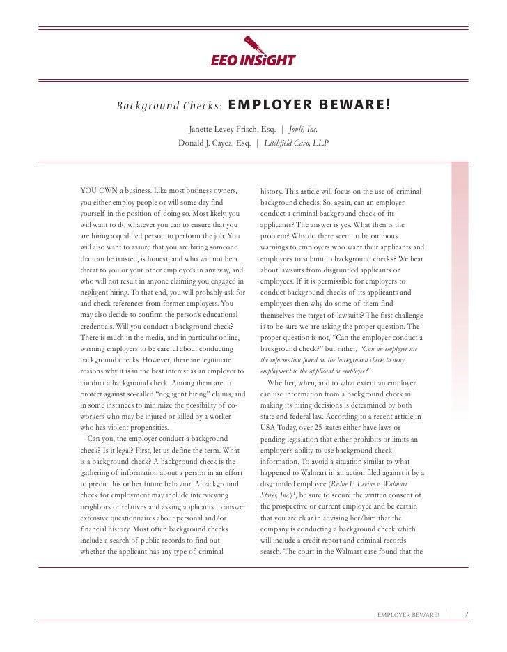 Background checks employer beware!