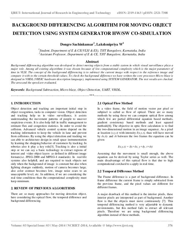 Background differencing algorithm for moving object detection using system generator hwsw co simulation