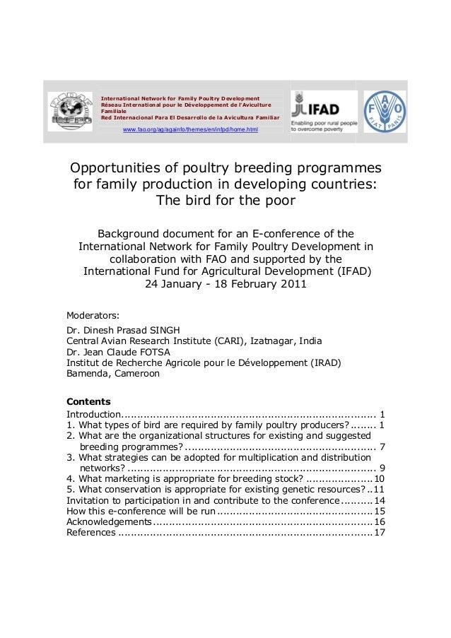 International Network for Family Poultry Development          Réseau International pour le Développement de lAviculture   ...