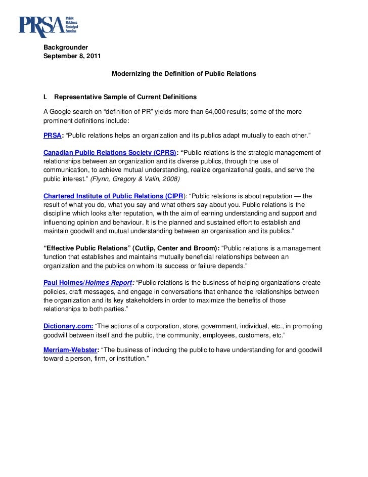 BackgrounderSeptember 8, 2011                       Modernizing the Definition of Public RelationsI.   Representative Sam...
