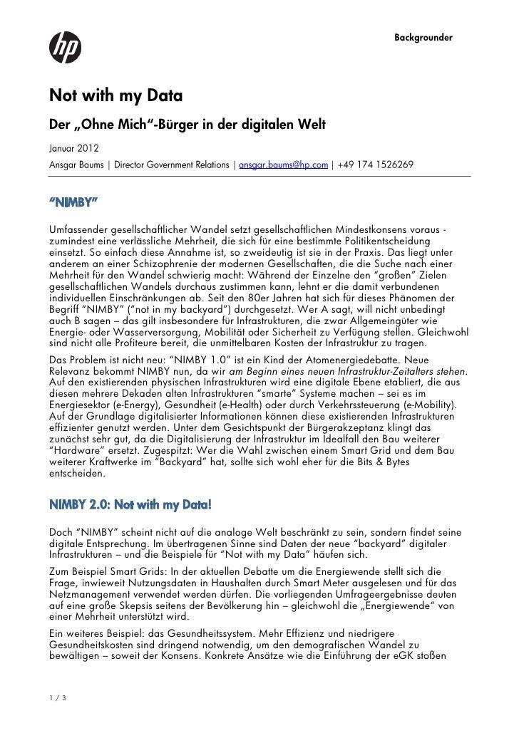 """BackgrounderNot with my DataDer """"Ohne Mich""""-Bürger in der digitalen Welt""""NIMBY""""Umfassender gesellschaftlicher Wandel setzt..."""