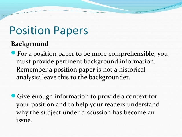 free position papers At times you will be asked to provide writing samples as part of your job or internship application make sure that your samples match the genre of the writing that the position would involve if you are deciding between two papers.