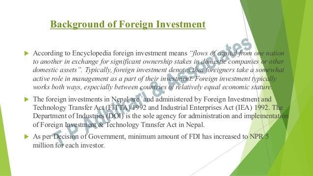 """FDI in Nepal """"Background Material"""""""