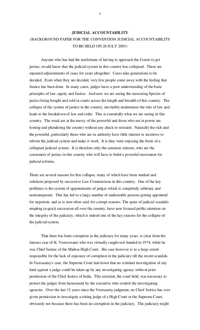 1                            JUDICIAL ACCOUNTABILITY(BACKGROUND PAPER FOR THE CONVENTION JUDICIAL ACCOUNTABILITY          ...