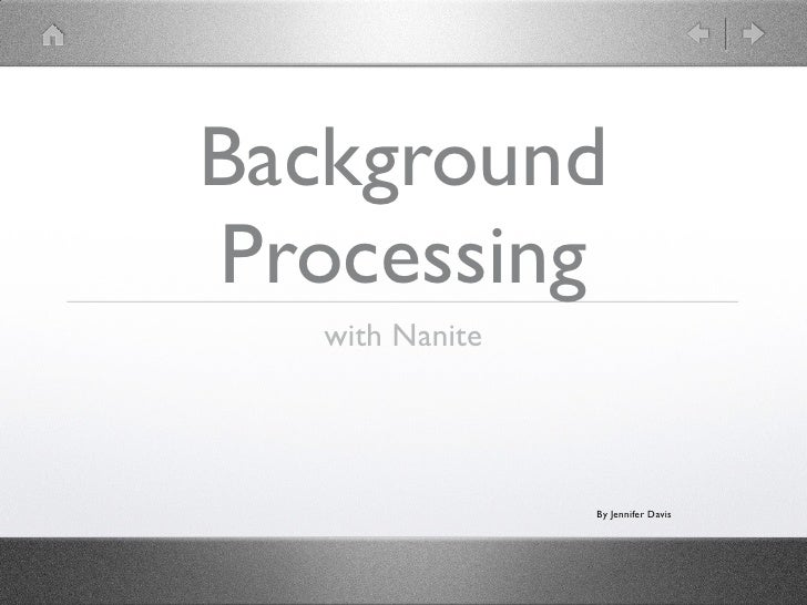 Background Processing with Nanite