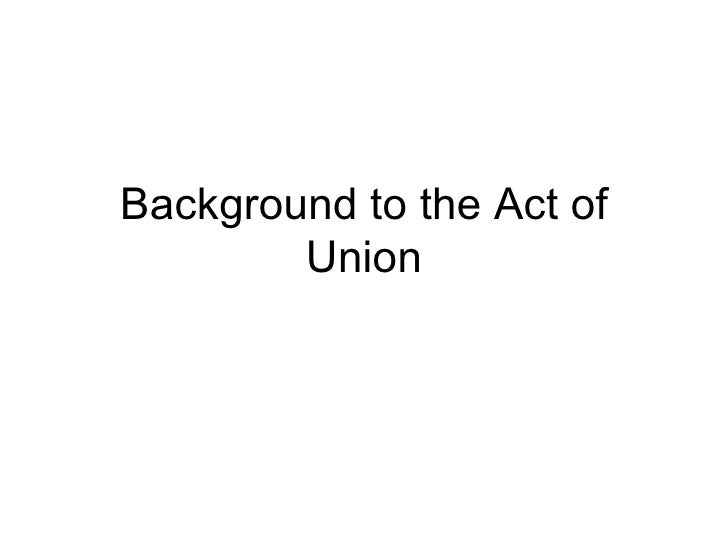 Background to the Act of Union