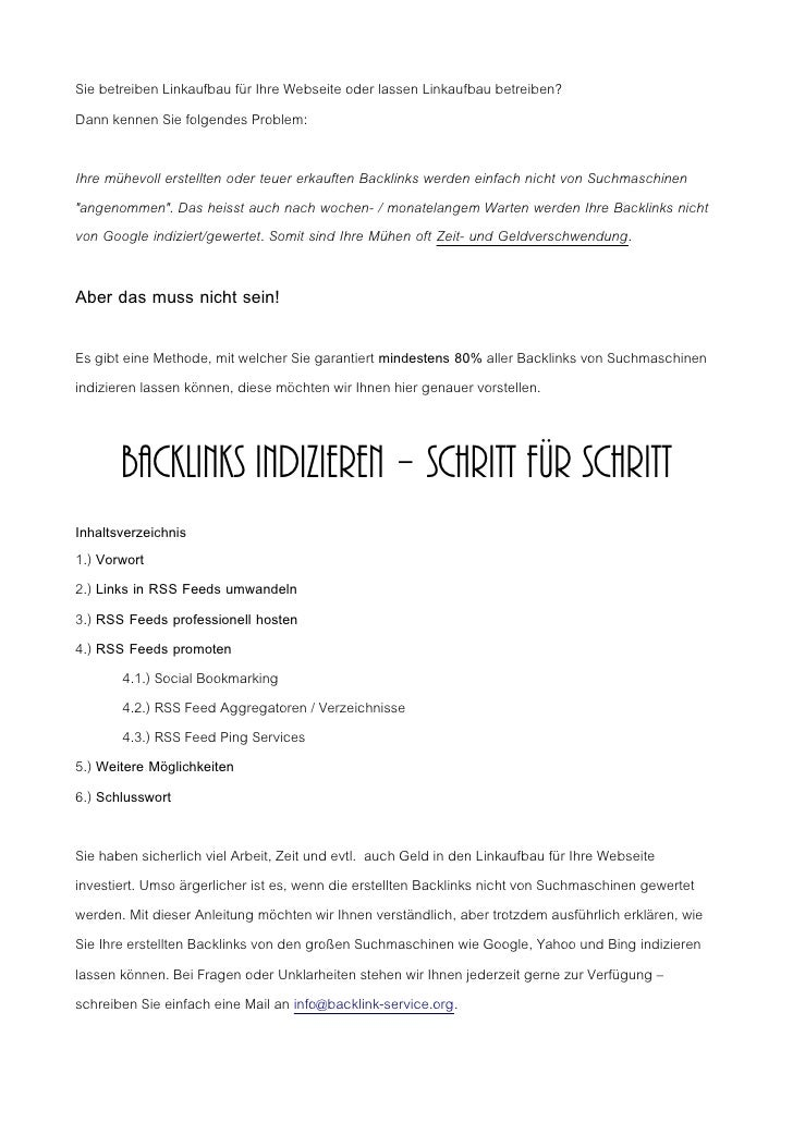 Index Backlinks - Erfolgreich Backlinks indizieren (SEO/Linkaufbau)