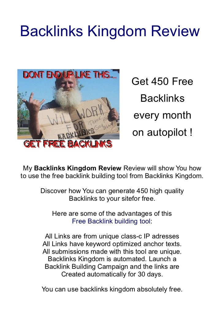 My Backlinks Kingdom Review - Free Backlink Building Tool