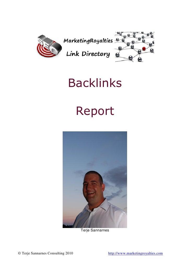 Backlinks                                    Report                                    Terje Sannarnes© Terje Sannarnes Co...