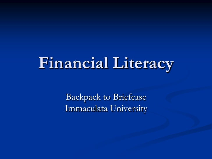 Financial Literacy   Backpack to Briefcase   Immaculata University