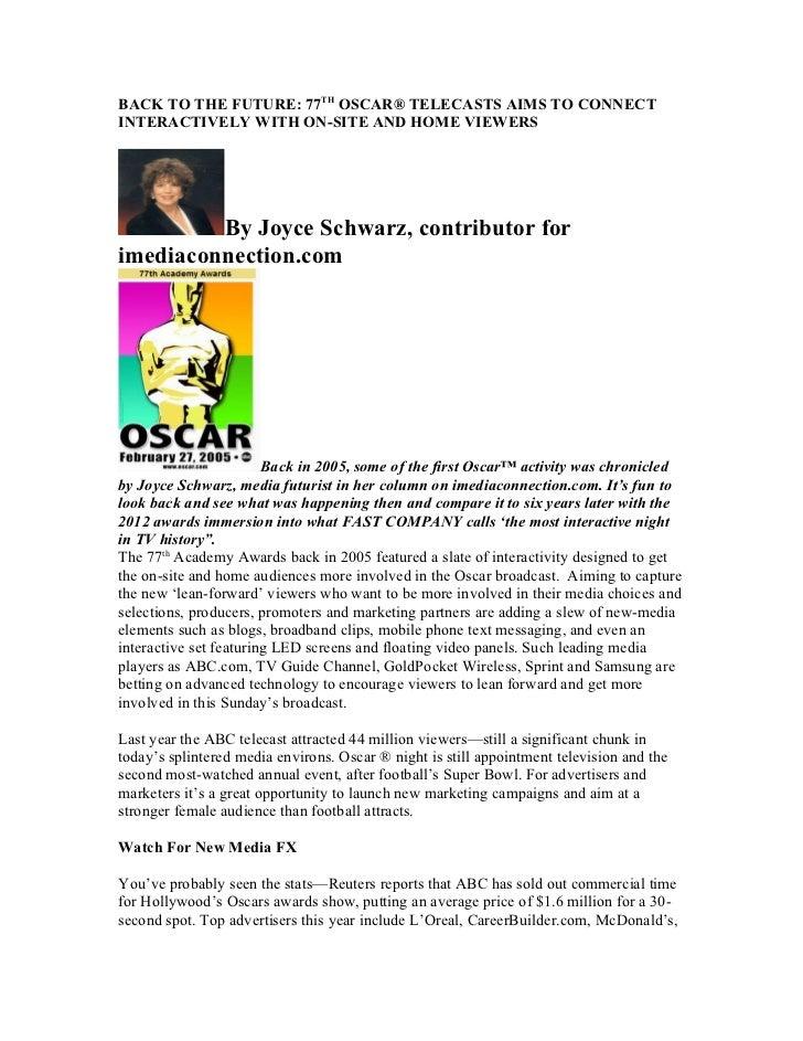Academy Awards 77th Goes Interactive by Joyce Schwarz