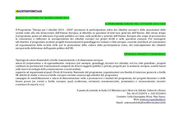 """# ANALISI DI FATTIBILITA' MARZO-GIUGNO 2014 IL PROGRAMMA EUROPA PER I CITTADINI 2014-2020 Il Programma """"Europa per i citta..."""