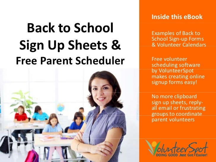 Inside this eBook  Back S h l  B k to School          Examples of Back to                         School Sign-up Forms Sig...