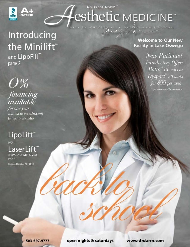 Dr. Darm Aesthetic Medicine, Back To School Online Brochure 2013