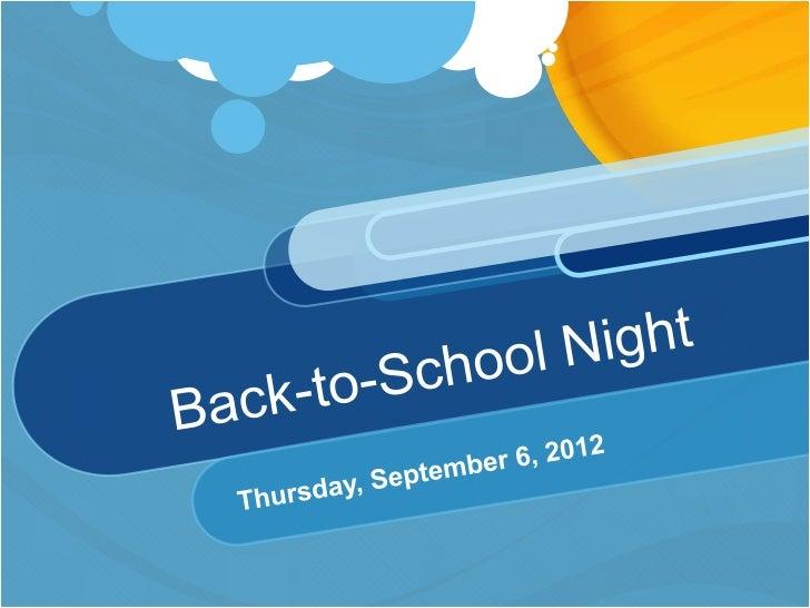 Back to school night dumoff 2012