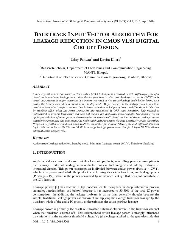 Back track input vector algorithm for leakage reduction in - Code reduction made in design ...