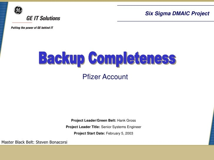 Six Sigma DMAIC Project                                            Pfizer Account                                      Pro...