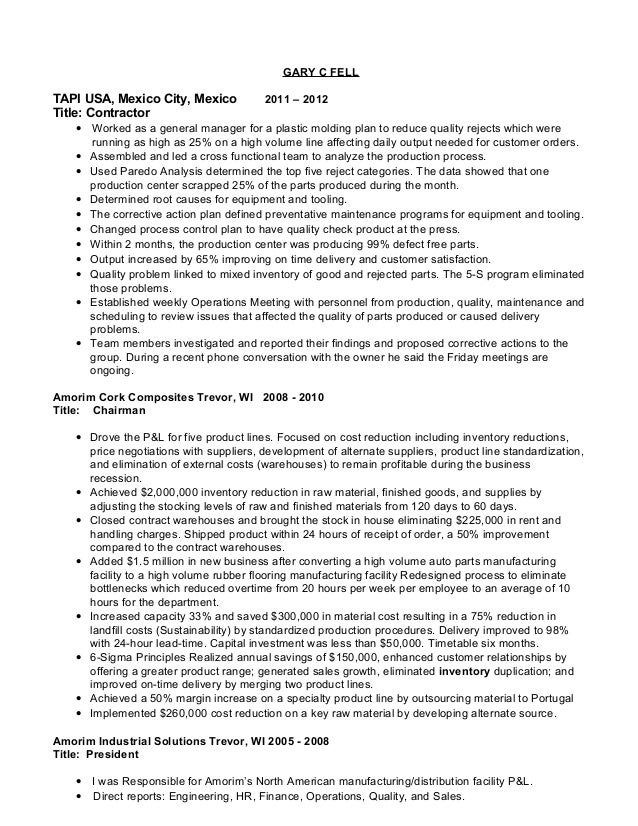 manufacturing general manager resumes - General Manager Resume