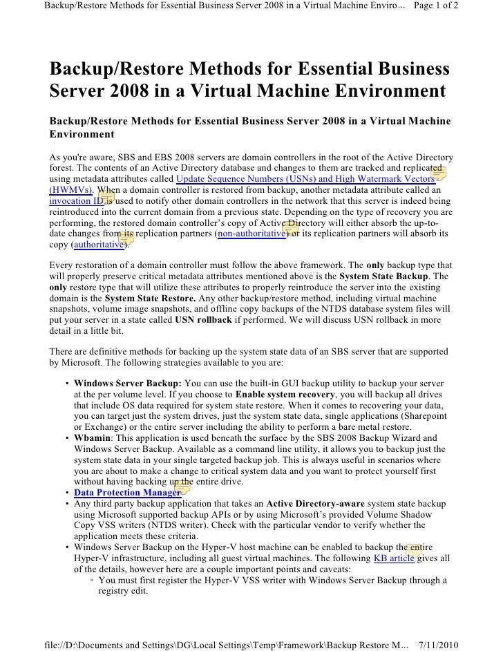 Backup restore methods for ebs sbs 2008 in a virtual machine environment