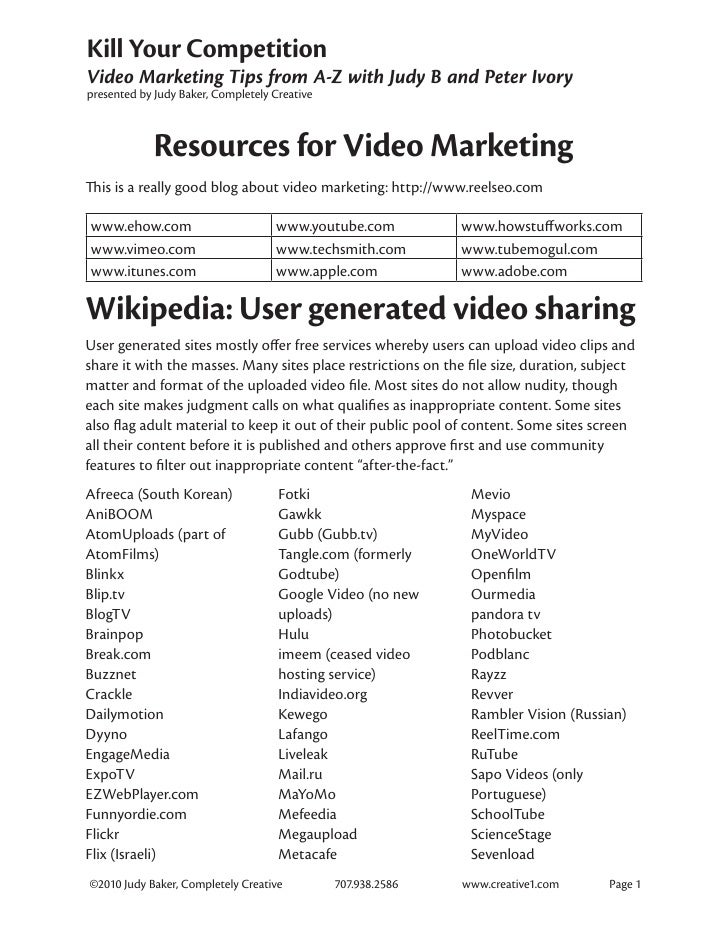 Resources for Video Marketing