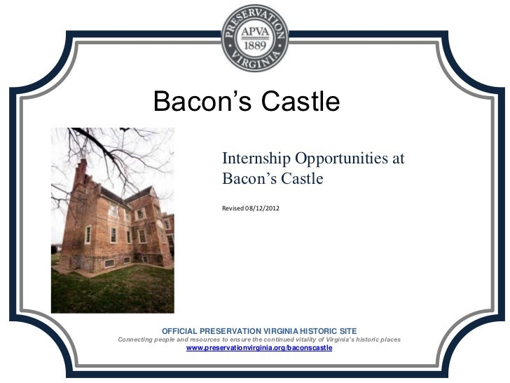 Internship Opportunities at Bacon's Castle