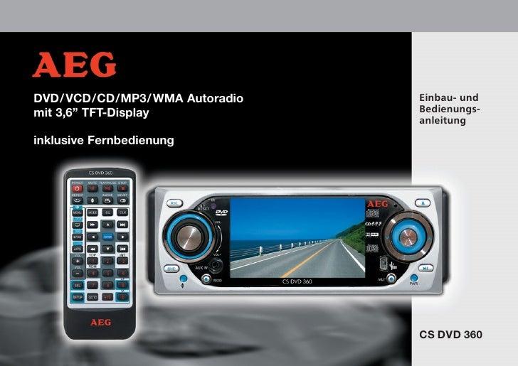 """DVD/ VCD/CD/MP3/ WMA Autoradio   Einbau- und mit 3,6"""" TFT-Display             Bedienungs-                                 ..."""