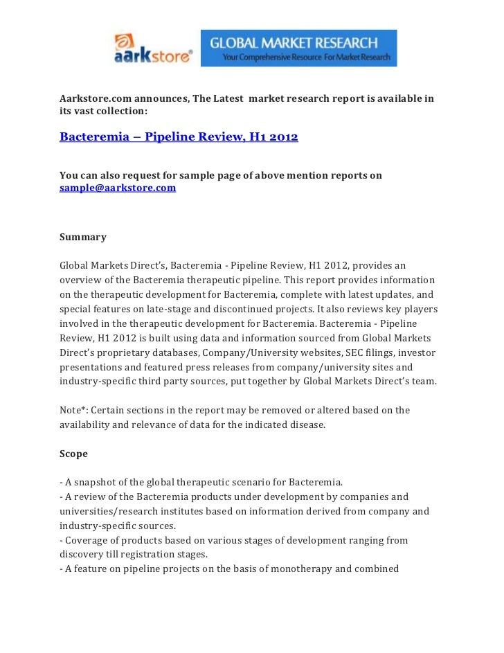 Bacteremia – pipeline review, h1 2012