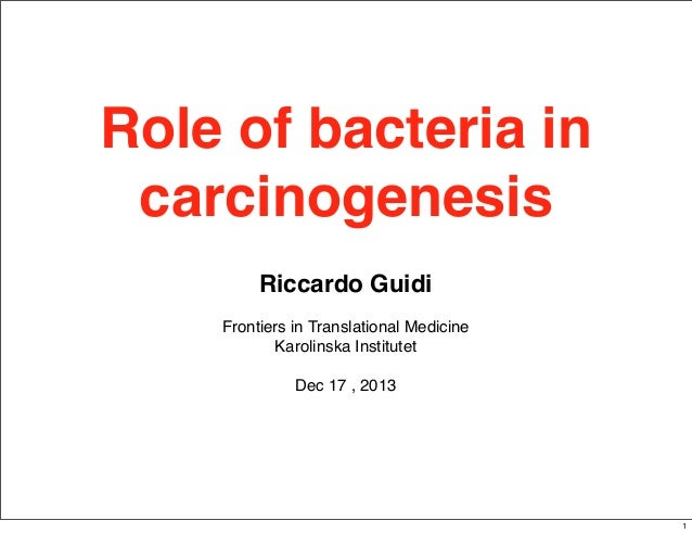 Role of bacteria in carcinogenesis Riccardo Guidi Frontiers in Translational Medicine Karolinska Institutet Dec 17 , 2013 ...