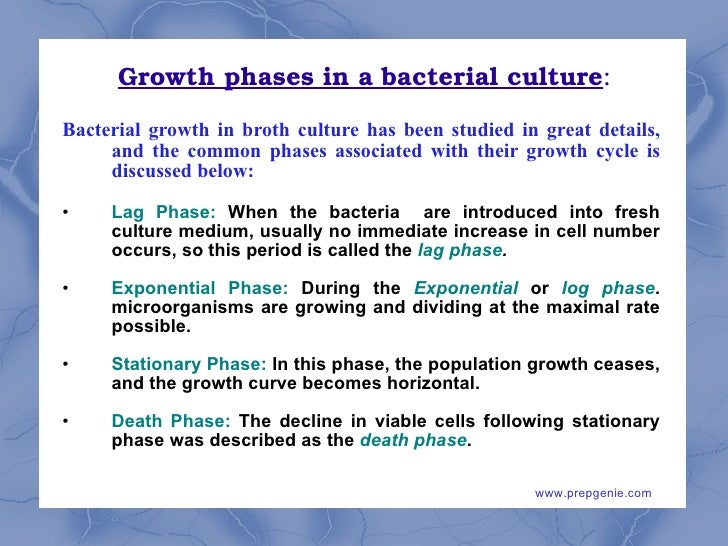 four phases of the bacterial growth curve A bacterial growth curve is used to show growth of cells over time four basic phases of growth exist the lag phase, the log phase, the stationary phaseand the death.