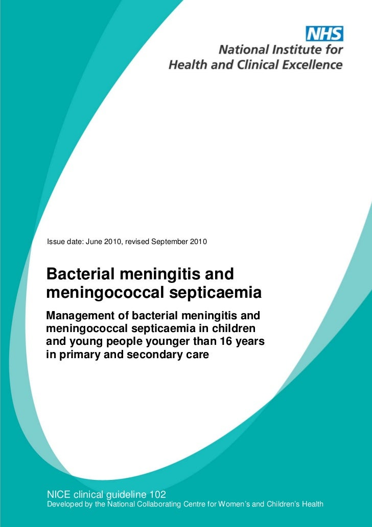 Bacterial meningitis and meningococcal septicaemia