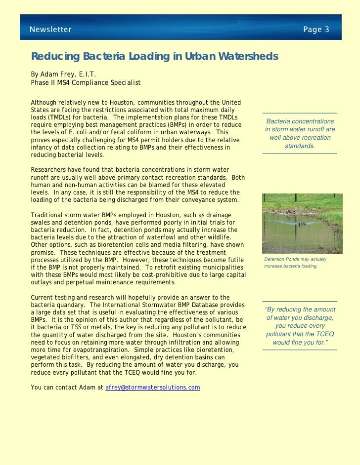 Reducing Bacteria Loading in Urban Watersheds