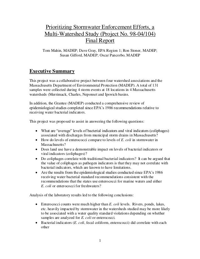 1 Prioritizing Stormwater Enforcement Efforts, a Multi-Watershed Study (Project No. 98-04/104) Final Report Tom Mahin, MAD...