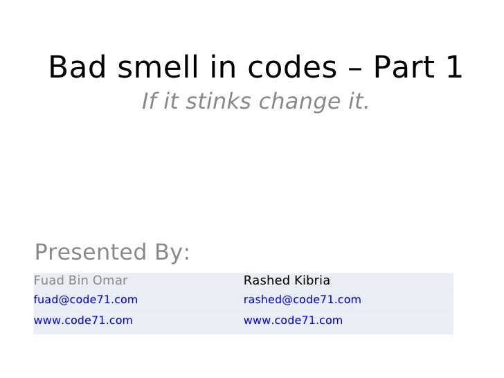 Bad Smell In Codes 1