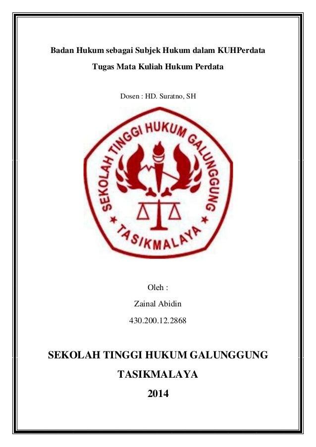 Badan hukum sebagai subjek hukum dalam kuh perdata