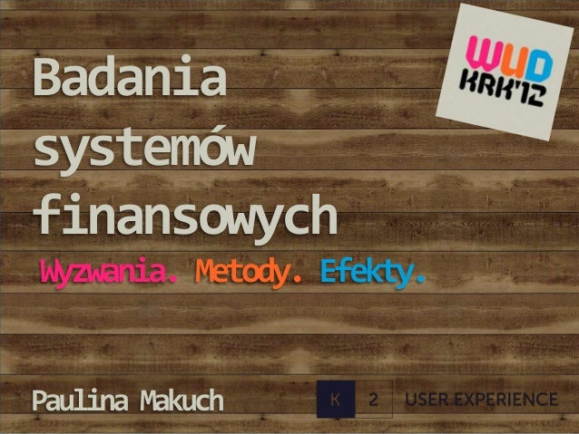 Badania systemow finansowych. WUD Krakow 2012