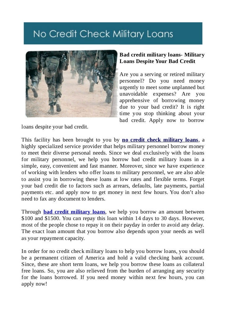 Bad credit military loans- Military Loans Despite Your Bad Credit