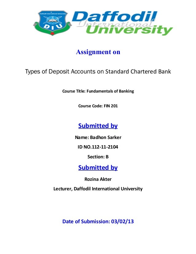 Types of Deposit Account on Standard Chartered Bank L.