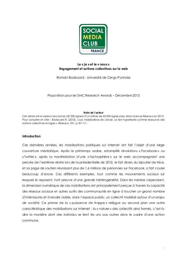 Le « je » et le « nous » Engagement et actions collectives sur le web Romain Badouard - Université de Cergy-Pontoise  Prop...