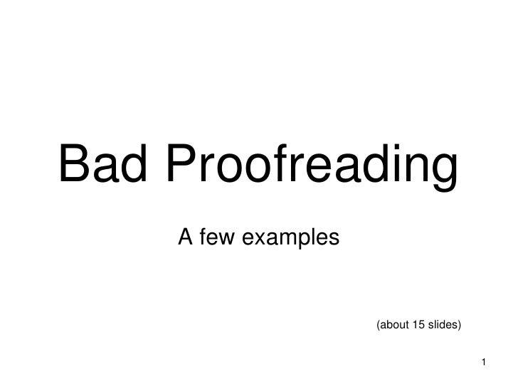 Bad Proofreading