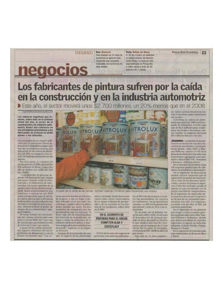 LOS FABRICANTES DE PINTURAS SUFREN POR LA CAIDA DE LA CONSTRUCCION Y LA INDUSTRIA AUTOMOTRIZ