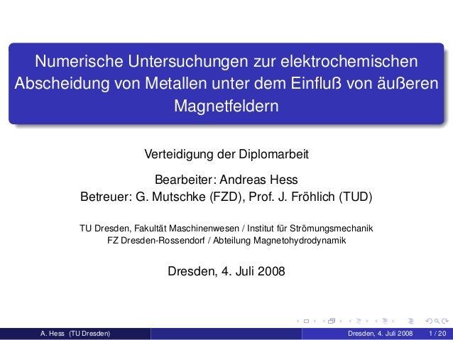 Numerische Untersuchungen zur elektrochemischen Abscheidung von Metallen unter dem Einfluß von ¨außeren Magnetfeldern Verte...