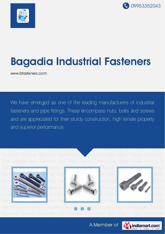09953352043A Member ofBagadia Industrial Fastenerswww.bfasteners.comStainless Steel Eye Bolts Stainless Steel Bolts Allen ...