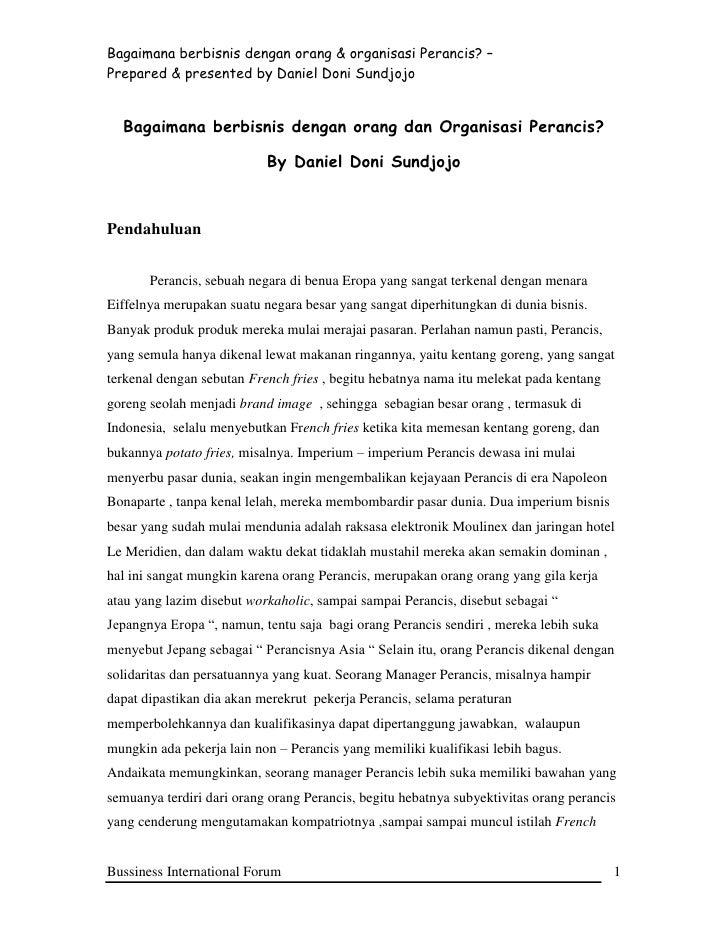 Bagaimana berbisnis dengan orang & organisasi Perancis? –Prepared & presented by Daniel Doni Sundjojo  Bagaimana berbisnis...