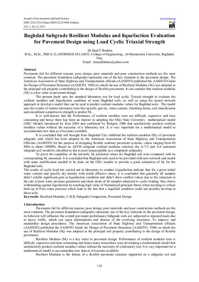Baghdad subgrade resilient modulus and liquefaction evaluation for pavement design using load cyclic triaxial strength