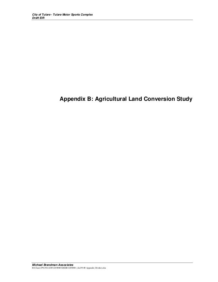 City of Tulare - Tulare Motor Sports ComplexDraft EIR                            Appendix B: Agricultural Land Conversion ...