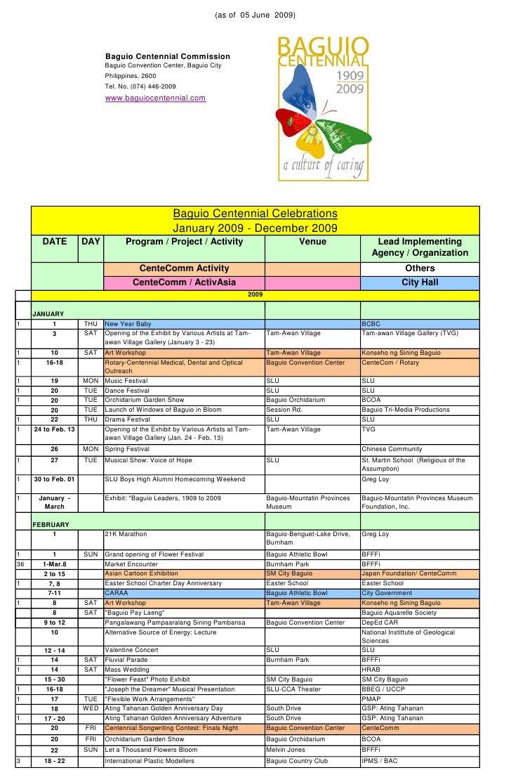 (as of 05 June 2009)                                Baguio Centennial Commission                            Baguio Convent...